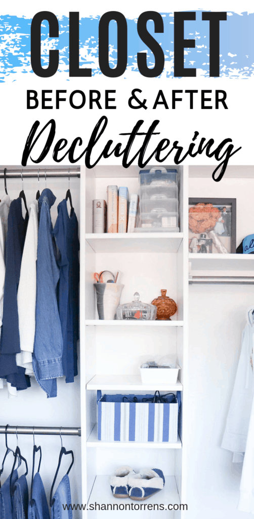 Closet Decluttering Before and After Organization