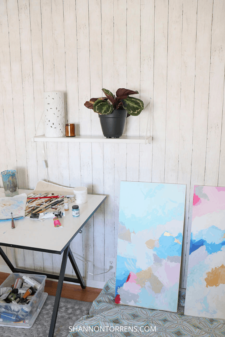 art room with peel and stick wallpaper