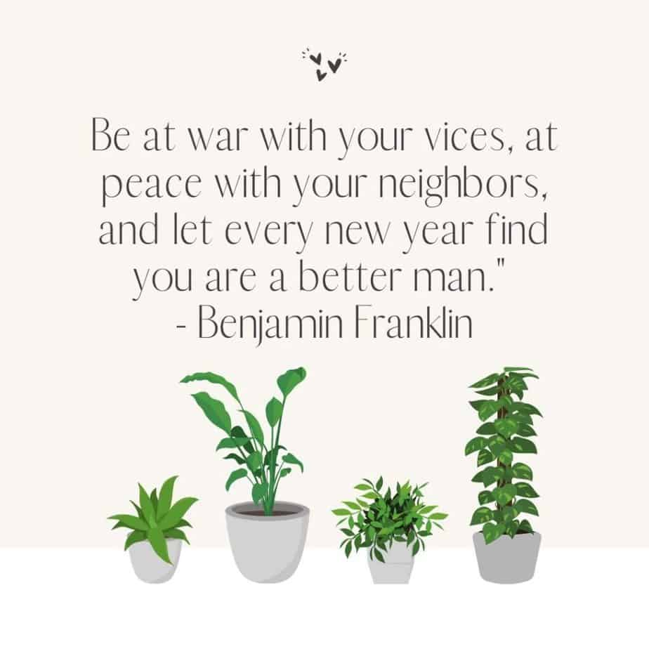 """Be at war with your vices, at peace with your neighbors, and let every new year find you are a better man."""" - Benjamin Franklin"""