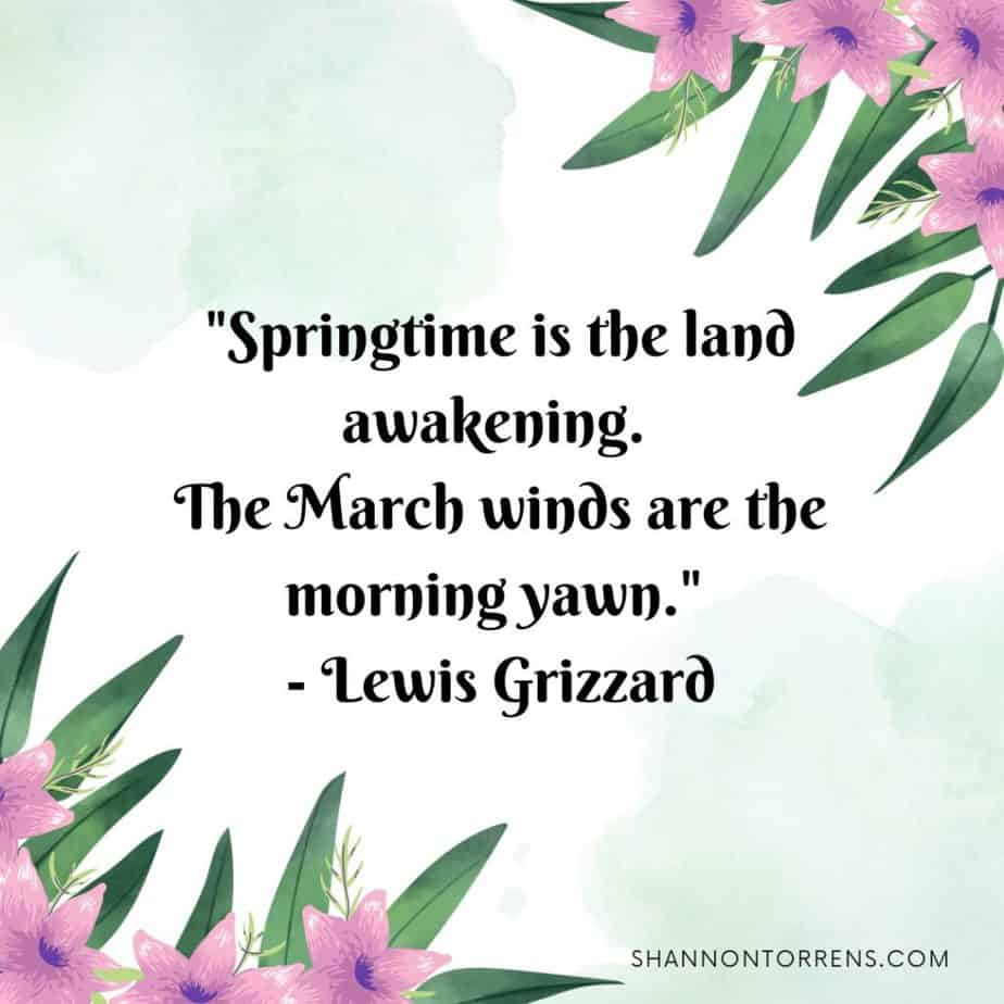 """""""Springtime is the land awakening. The March winds are the morning yawn."""" - Lewis Grizzard"""