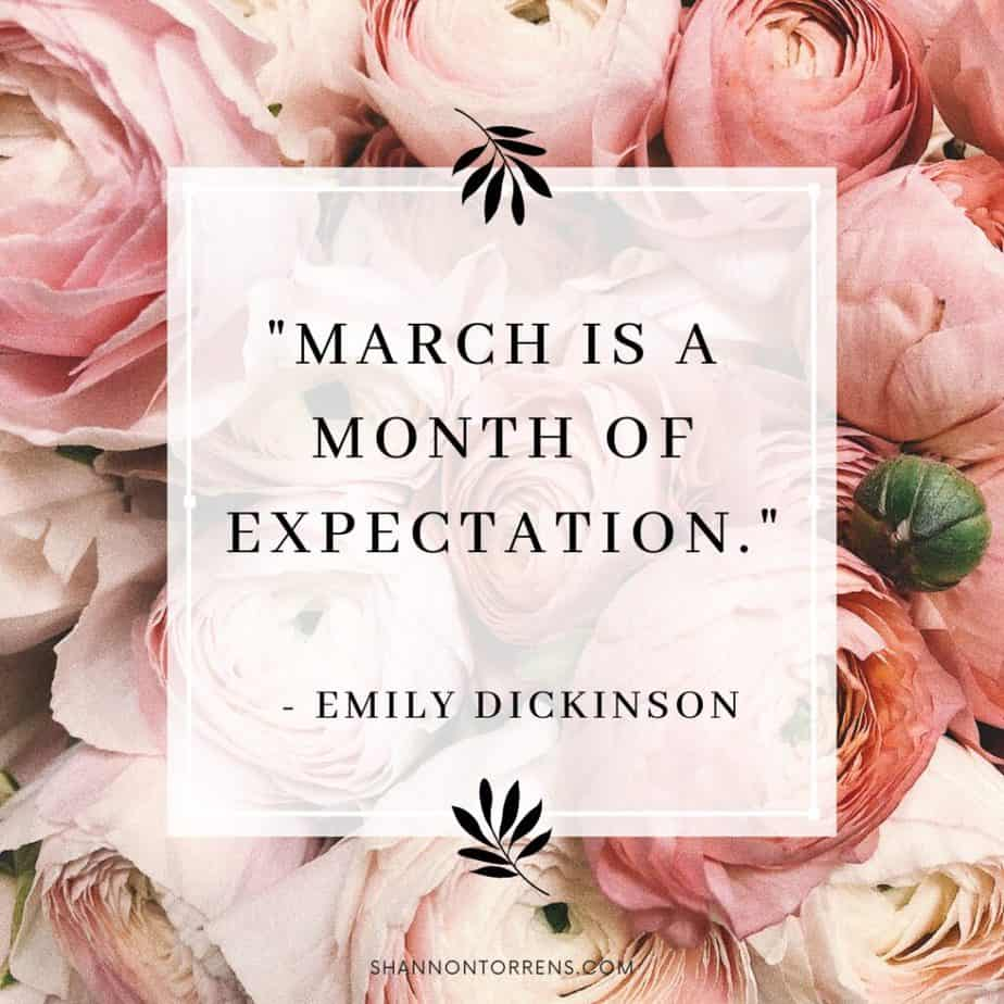 """""""March is a month of expectation."""" - Emily Dickinson"""