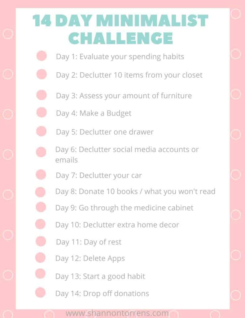 14 day minimalist challenge print