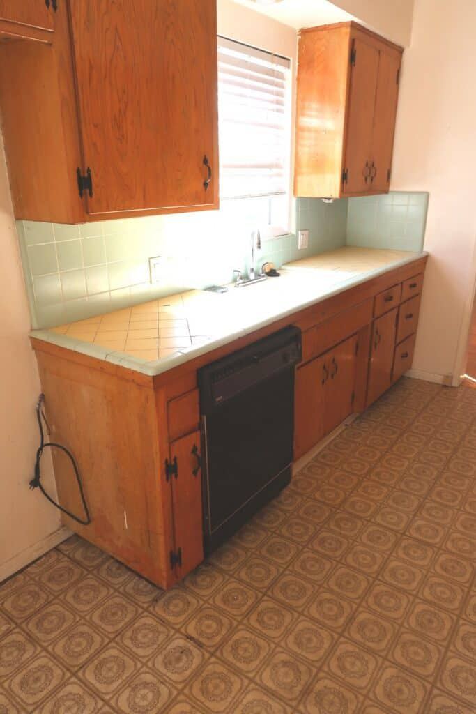 mint and yellow 1950s kitchen